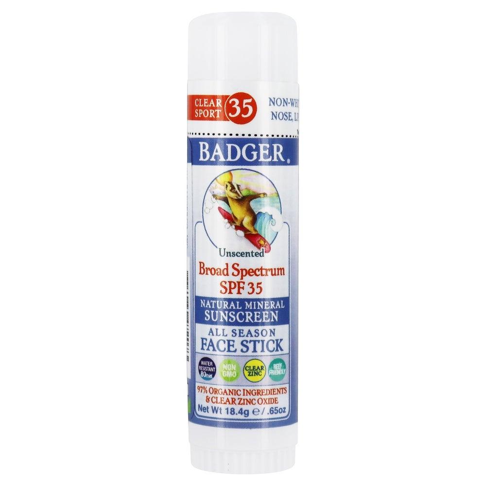 Badger - Clear Zinc Sport Mineral Sunscreen Face Stick 35 SPF - 0.65 (Facial Sunscreen - White)