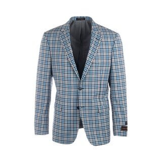 Sangria Baby Blue with Navy Blue and Balck Check with Brown Windowpane, Modern Fit, Pure Wool Jacket by Tiglio Luxe 55199/1