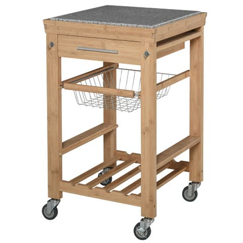 HOMCOM Bamboo Rolling Kitchen Island Trolley Storage Cart with Granite Top, a Slide-Out Basket & Wine Storage Rack