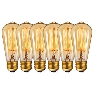Link to Antique Edison ST64 Incandescent Bulbs, 60W, 6 Pack - 2200K Amber Light Similar Items in Light Bulbs