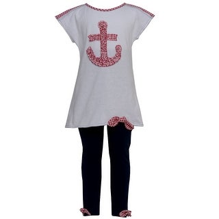 Good Lad Little Girls Red Checker Anchor Applique Sailor Legging Set 2T