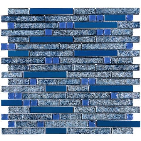 TileGen. Galaxy Diamond Random Sized Metal and Glass Mosaic Tile in Blue Wall Tile (10 sheets/9.6sqft.)
