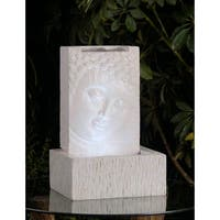 "12.6"" LED Lighted White Religious Smiling Buddha Indoor Table Top Water Fountain"