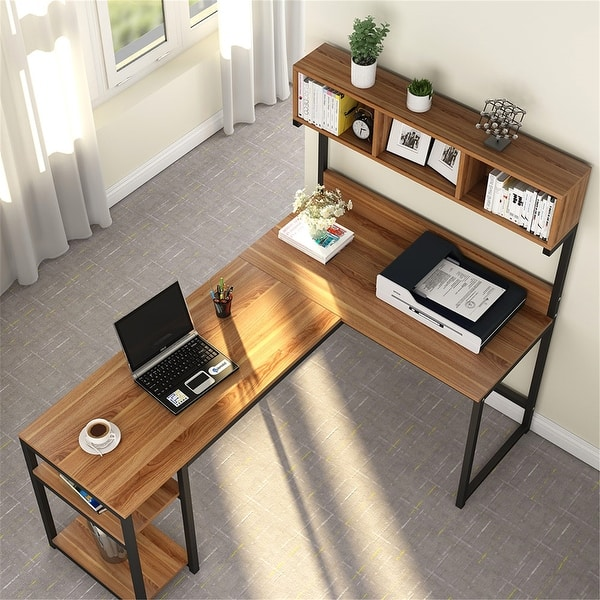 68 Inches Corner Computer Desk L Shaped Desk With Hutch Overstock 32893904