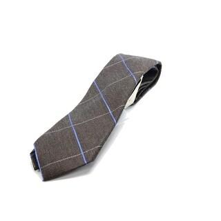 Michael Kors NEW Brown Randy Grid Navy Blue Neck Tie Silk Accessory
