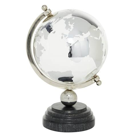 """Metal Globe Decor With Marble Stand 8 X 13"""" Silver And Black - 8 x 8 x 13"""