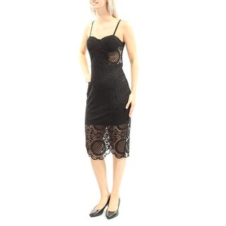 Womens Black Spaghetti Strap Below The Knee Party Dress Size: 5