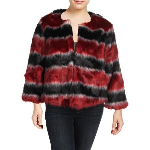 Rachel Rachel Roy Womens Plus Bomber Jacket Winter Faux Fur - 1X