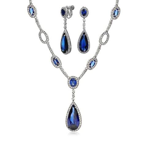 Bling Jewelry Blue CZ Teardrop Bridal Set Rhodium Plated