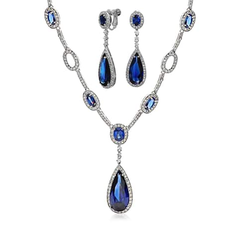 Blue CZ Fashion Statement Teardrop Y Necklace Clip On Earrings Jewelry Set For Women Imitation Sapphire Silver Plated