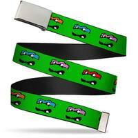 Blank Chrome Bo Buckle Finn & Jake W Music Notes Green Webbing Web Belt - S