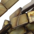 Natural Shell Beads, Flat Rectangles 9.5x15mm, 15.5 Inch Strand, Brown - Thumbnail 0