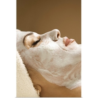 """Woman receiving facial treatment at spa"" Poster Print"