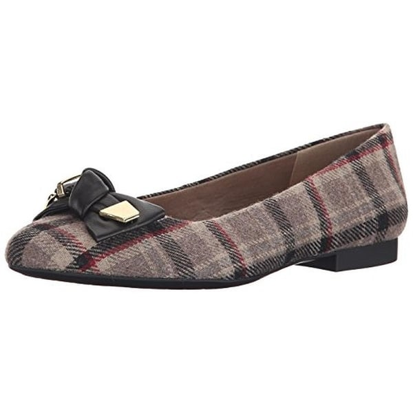 Bella Vita Womens Ozark Ballet Flats Bow Plaid