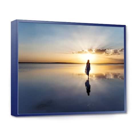 Designart 'Man Alone in Summer' Landscape Photo Framed Canvas Art Print
