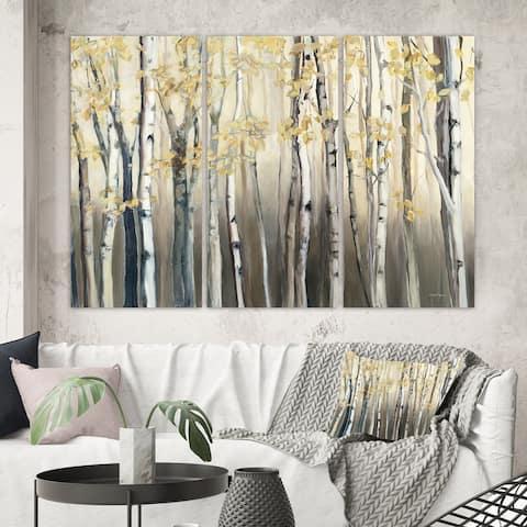 Porch & Den Golden Birch Forest I' Canvas Wall Art