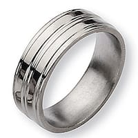 Chisel Grooved Polished Titanium Ring (8.0 mm)