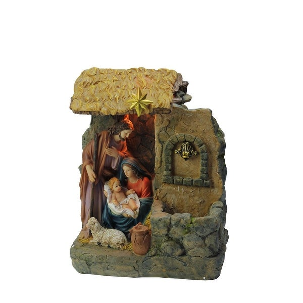 "14"" Holy Family Religious Nativity Fountain with Lamp Table Top Christmas Decoration"