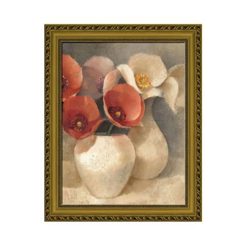 Premius Vase With Roses Wall Art, Red-White, 24x30 Inches - Multi-Color - 24x30 Inches