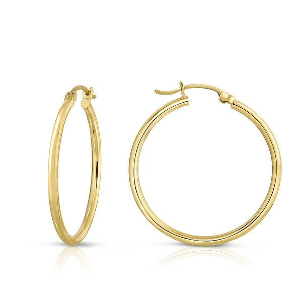Mcs Jewelry Inc 14 KARAT YELLOW GOLD CLASSIC HOOP EARRINGS (DIAMETER: 30MM)