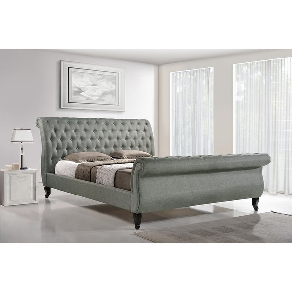 shop antoinette grey platform bed w button tufted headboard footboard queen free shipping. Black Bedroom Furniture Sets. Home Design Ideas