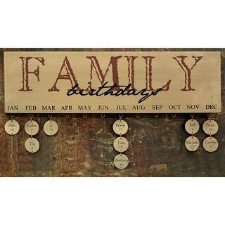 Burgundy Family Birthday Calendar
