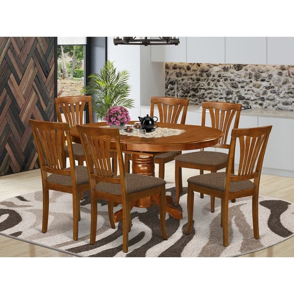 7 Piece Dining Set Oval Table With Leaf And 6 Dining Chairs In Saddle Brown Finish On Sale Overstock 10296404