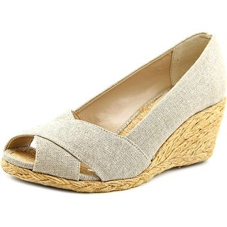 Adrienne Vittadini Bailee Women Open Toe Canvas Wedge Heel