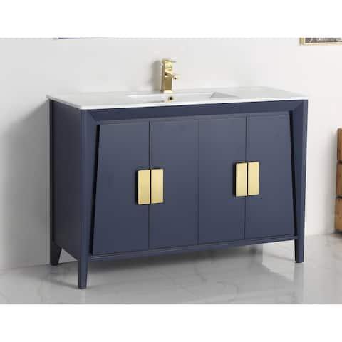 "48"" Larvotto Light Wheat Color Modern Bathroom Sink Vanity"