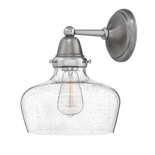 "Hinkley Lighting 67002EN Academy Single Light 12-1/2"" High Wall Sconce with Seedy Glass Shade"