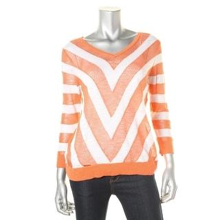 C & C California Womens Linen Blend Open Stitch Pullover Sweater - S