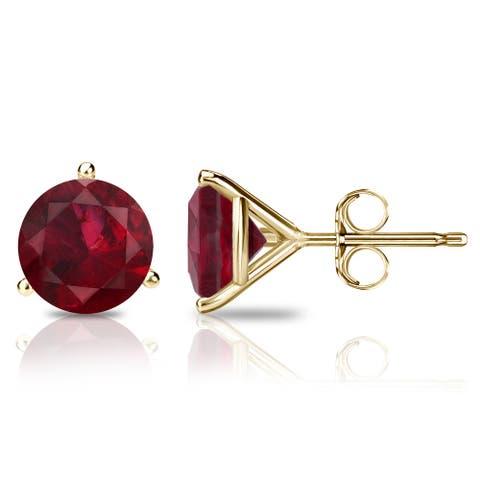 Auriya 14k Gold 3/5ctw Solitaire Ruby Gemstone Stud Earrings Martini-set