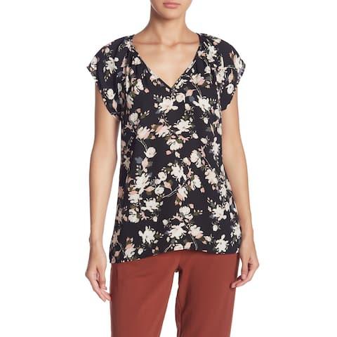 14th & Union Women Woven Blouse Black Size XL V-Neck Floral Short Sleeve
