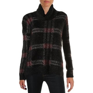 Sanctuary Womens Plaid Eyelash Pullover Sweater