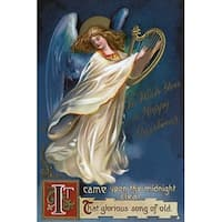 Happy Christmas Angel with a Harp Vintage Holiday (100% Cotton Towel Absorbent)