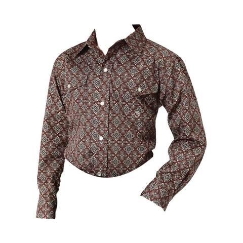 Roper Western Shirt Boys Long Sleeve Snap Brown