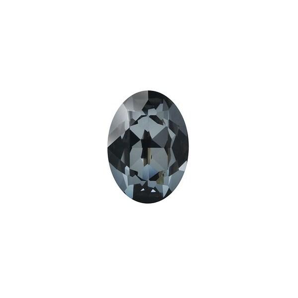 Swarovski Elements Crystal, 4120 Oval Fancy Stones 6x4mm, 2 Pieces, Crystal Silver Night F