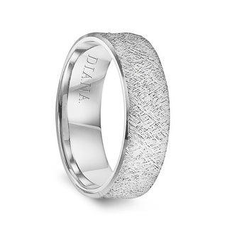 14k White Gold Men S Wedding Ring With Artisan Finish By Diana 7mm
