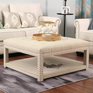 Link to Henriques 34-inch Tufted Square Cocktail with Storage Ottoman Similar Items in Living Room Furniture