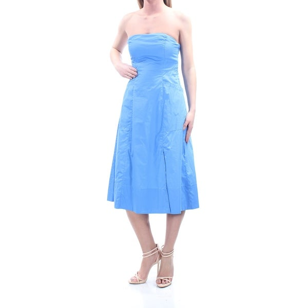 FREE PEOPLE Womens Blue Pocketed With Straps Strapless Below The Knee Fit +  Flare Dress Size 213021878911