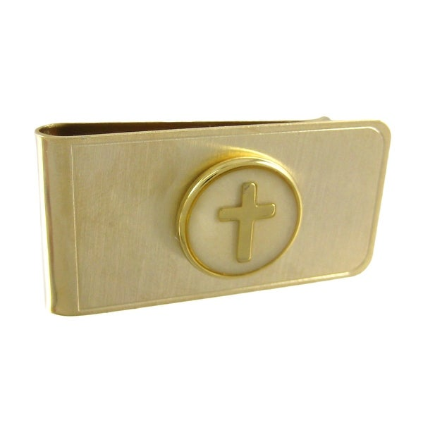 Gold Plated Christian Cross Money Clip - White