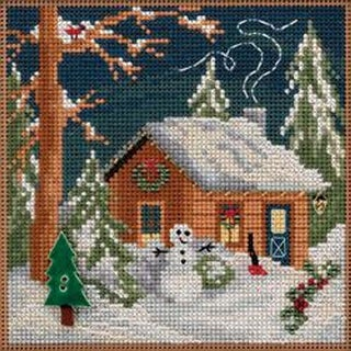 """Christmas Cabin-Perforated Paper - Mill Hill Counted Cross Stitch Kit 5.25""""X5.25"""""""