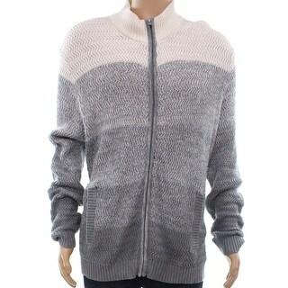 Alfani Mens Medium Ombre Colorblock Full Zip Sweater