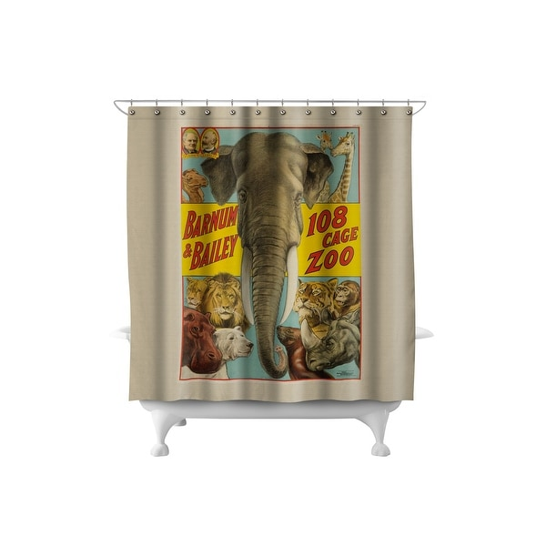 Barnum & Bailey - 108 Cage Zoo 1916 - Vintage Ad 71x74 Poly Shower Curtain