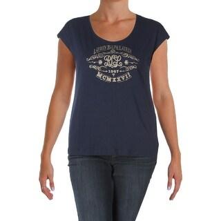 Lauren Ralph Lauren Womens Graphic T-Shirt Printed Short Sleeves