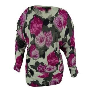 INC International Concepts Women's Floral Print Cold Shoulder Sweater
