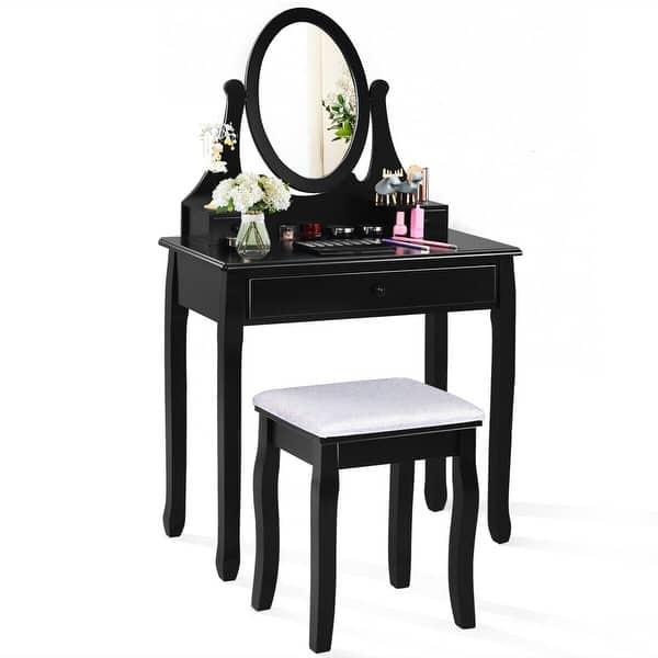 Shop Gymax Bedroom Wooden Mirrored Makeup Vanity Set w/Stool ...