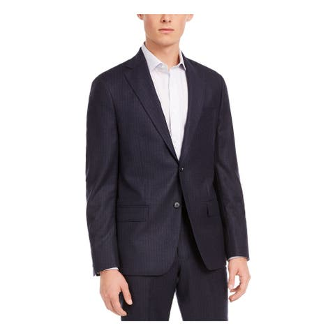 DKNY Mens Navy Single Breasted Wool Blend Jacket 44R