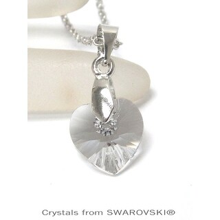 Genuine Clear Crystal Semplice Heart Pendant Necklace