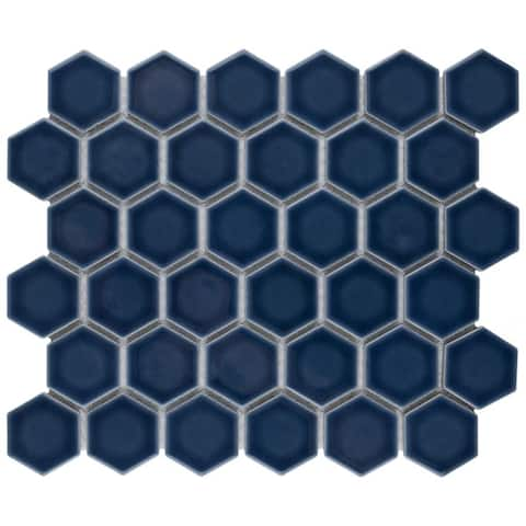 SomerTile Hudson Due 2 in. Hex Marine Denim Blue 12-1/2 in. x 11-1/4 in. x 5mm Porcelain Mosaic Tile (10 Tiles/9.97 sqft.)